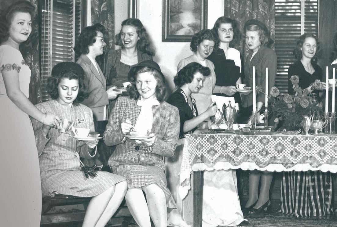 photo of female 1940s college students at a party
