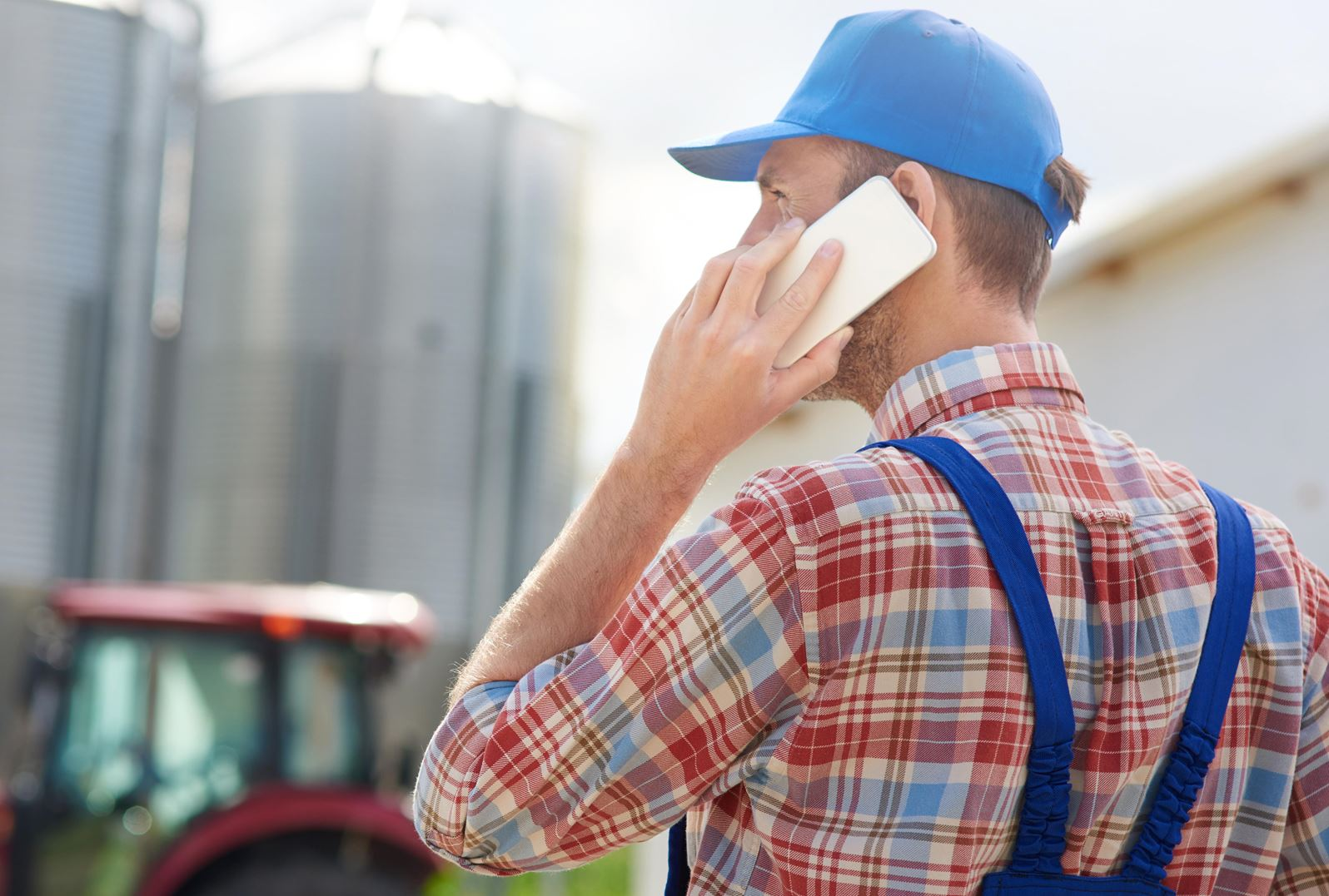 Farmer talking on phone