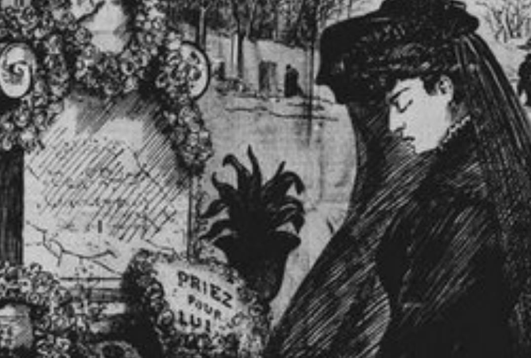 illustration of women at funeral