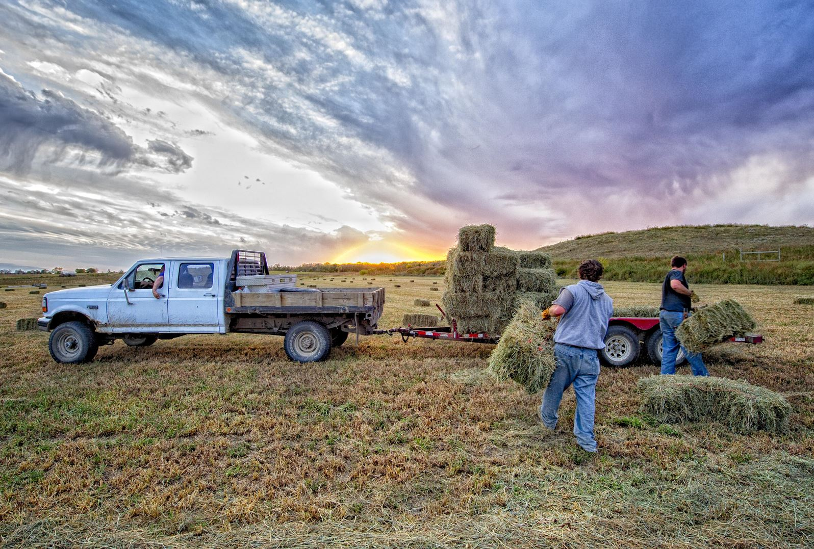 Men loading hay bales on a trailer as the sun sets.