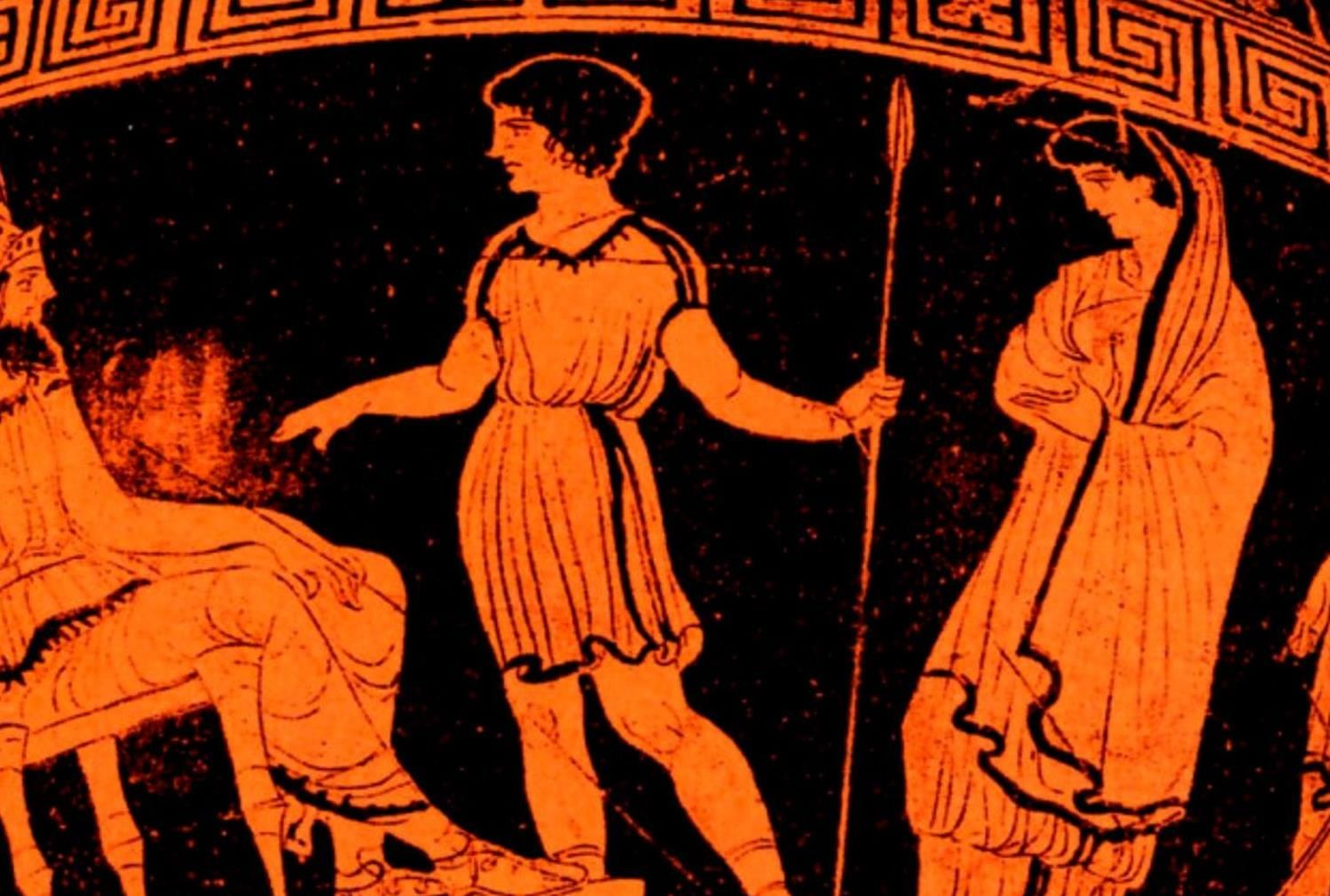 classical Greek vase with woman holding spear