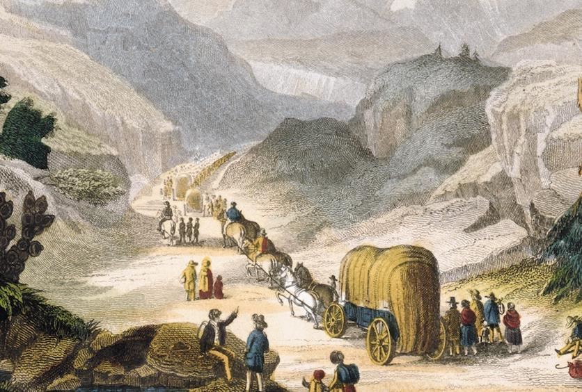 Illustration of a wagon train on the Oregon-California trail