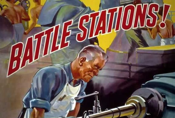 poster featuring man working in factory