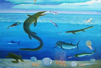 A mural at the Stanton County Museum depicts thepre-historic animals that lived in the Western Interior Sea.
