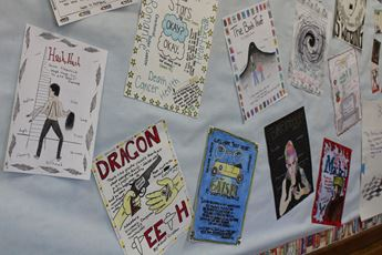 A bulletin board with students' artwork