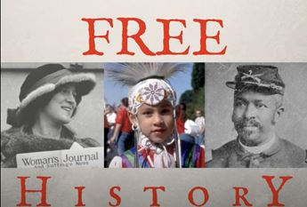 FREE History logo featuring images of a suffragette, an Indigenous child, and a Buffalo Soldier.