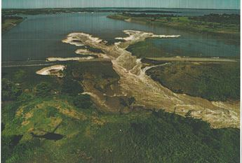 A bird's-eye view of the release channel that cut through Highway 57 atop the Milford Lake Dam in July 1993.