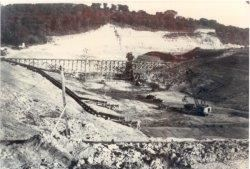 The construction of Wyandotte County Lake Dam, circa 1938