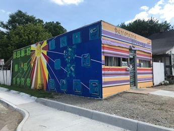 building with Mural