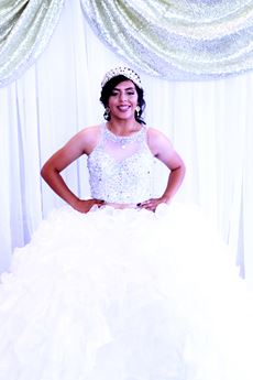 Young woman dressed for a Quinceañera
