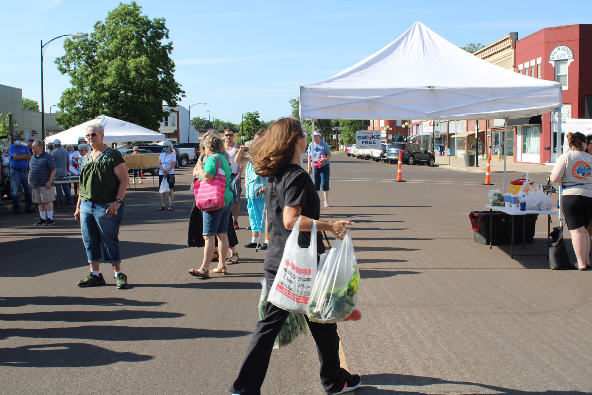 woman carrying grocery bags at farmers market