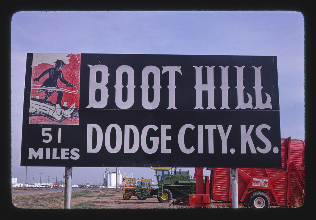 Boot Hill Dodge City road sign